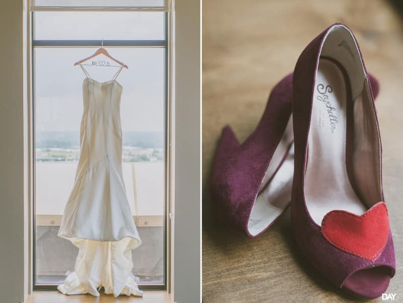 Dress and shoes at Magnolia Hotel Wedding
