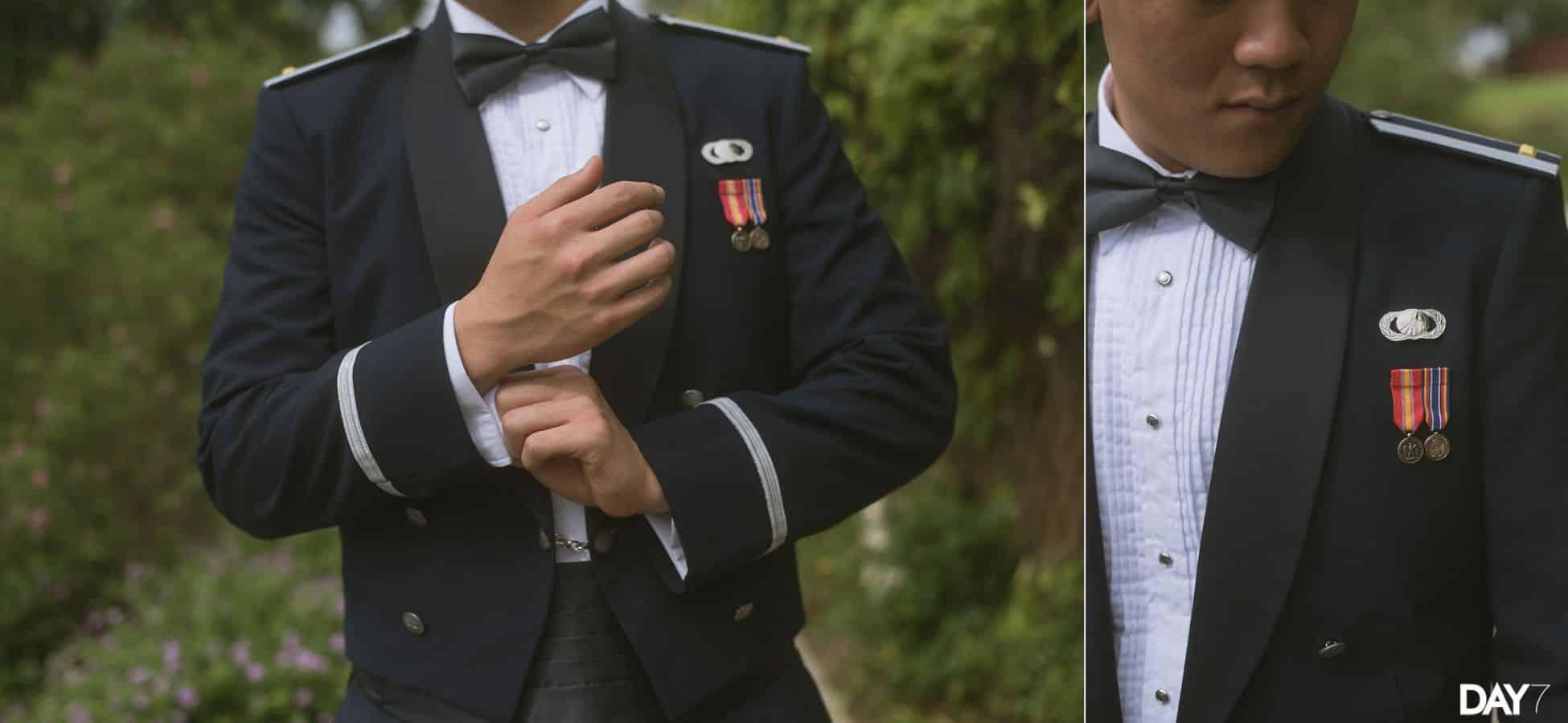 groom portraits at vintage villas wedding venue