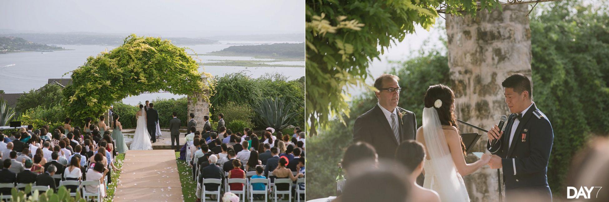 ceremony at vintage villas wedding