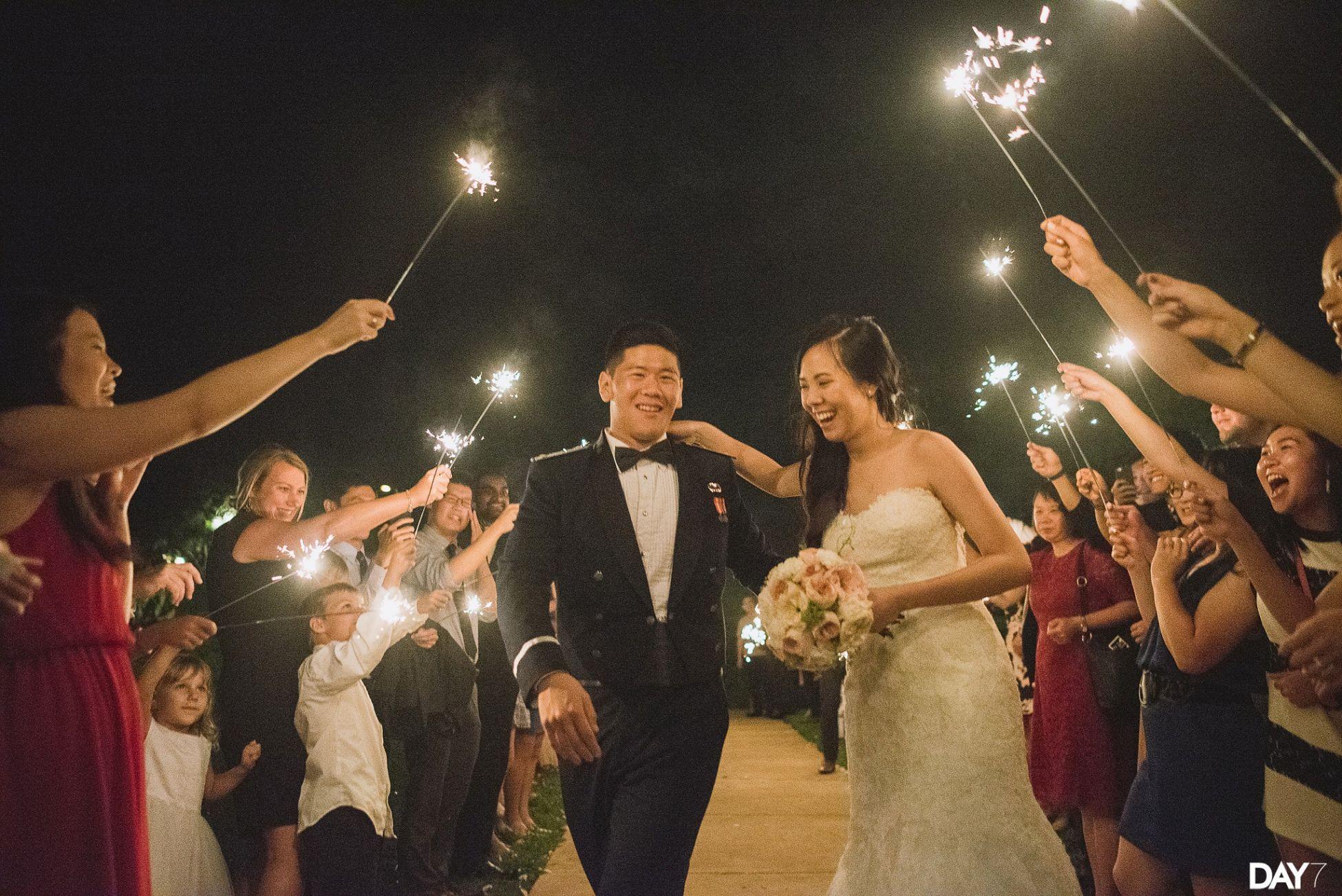 Vintage Villas Sparkler exit  Austin Wedding