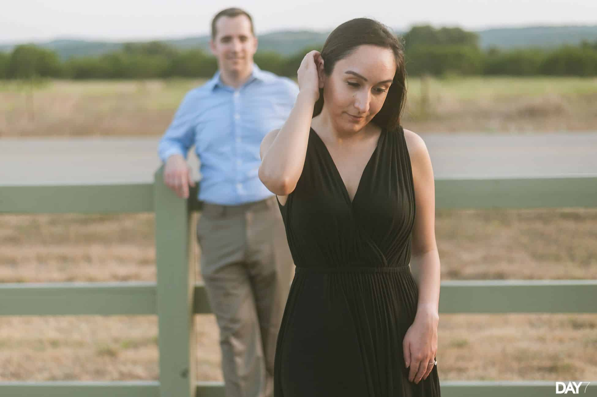 Black dress engagement photos - Hill Country Engagement Photos With Black Dress